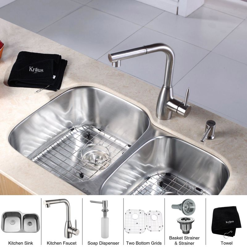 Kraus Sink Parts : ... Kitchen Sink with Pullout Spray Kitchen Faucet and Soap Dispenser