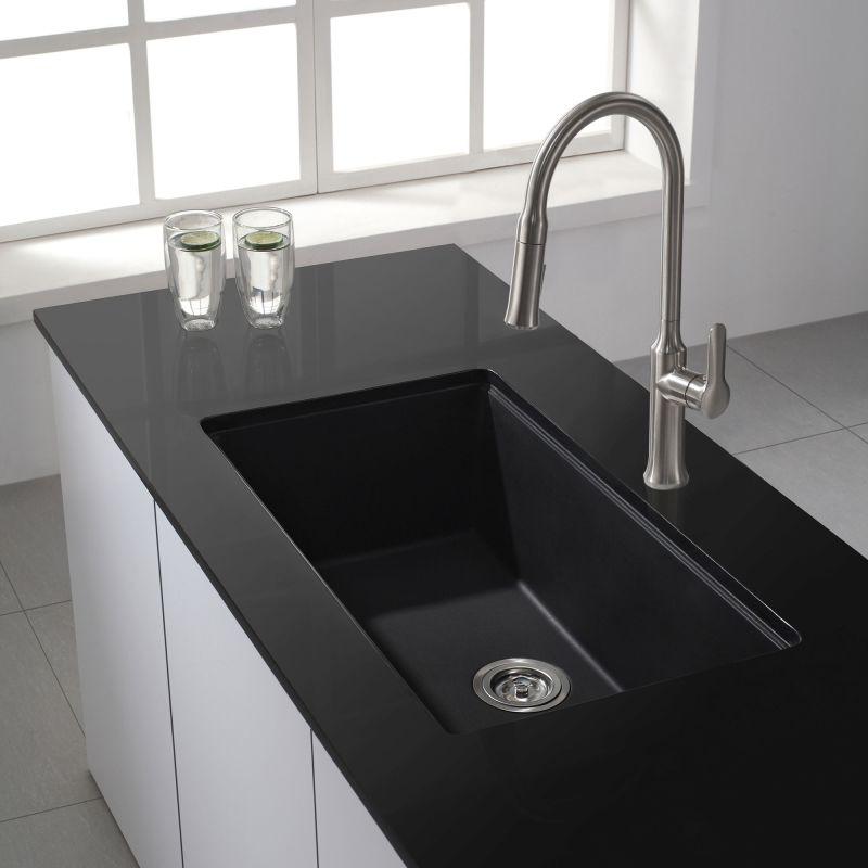 Where Are Kraus Sinks Manufactured : Kraus KGU-413B Black Onyx 30-1/2