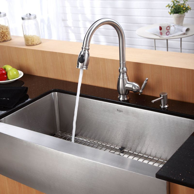 ... Kitchen Sink with Pullout Spray Kitchen Faucet and Soap Dispenser