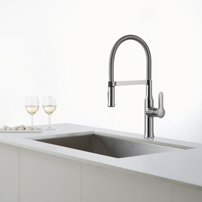 Kraus Bathroom Faucets : ... Stainless Steel Nola Single Lever Flex Commercial Style Kitchen Faucet