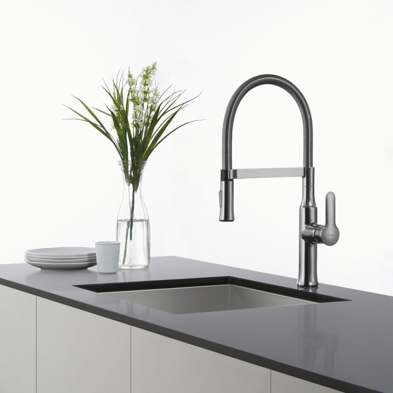 Kraus Commercial Faucet : Kraus KPF-1640SS Stainless Steel Nola Single Lever Flex Commercial ...