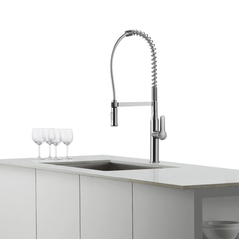 Kraus Commercial Faucet : Kraus KPF-1650SS Stainless Steel Nola Single Lever Commercial Style ...