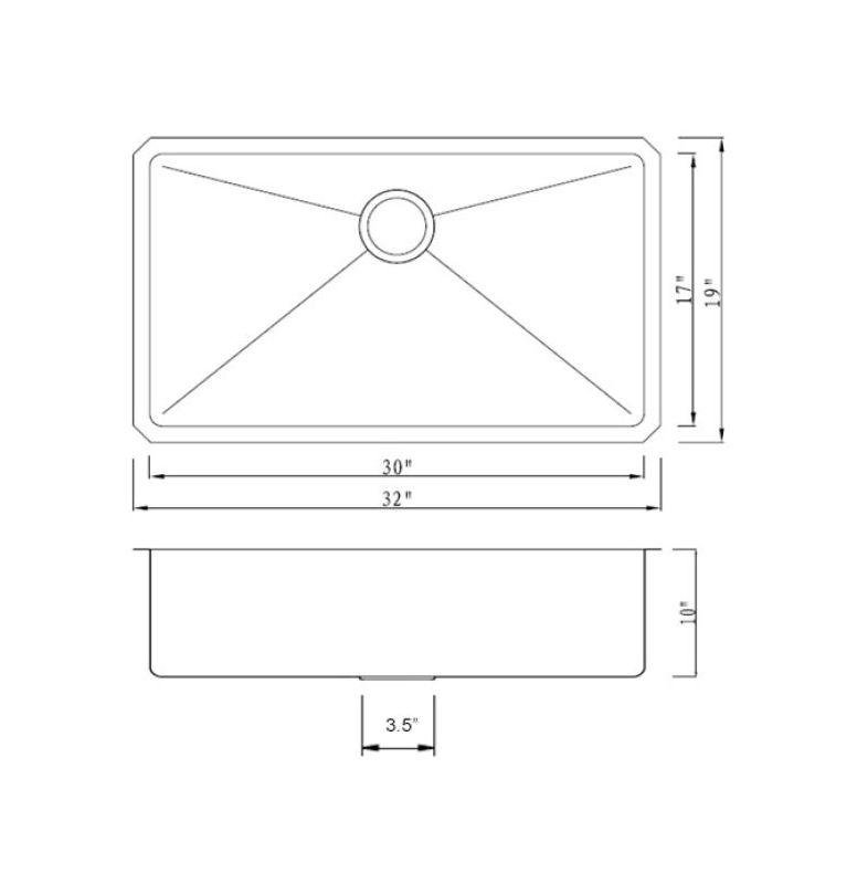 """Kitchen Sink Sizes: Miseno MNO163219SR 16 Gauge Stainless Steel 32"""" Undermount"""