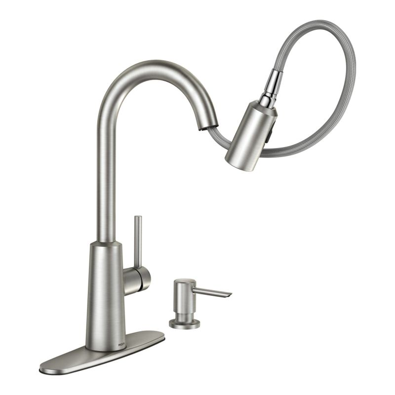 Moen 87066 Chrome Pullout Spray High-Arc Kitchen Faucet with Soap ...