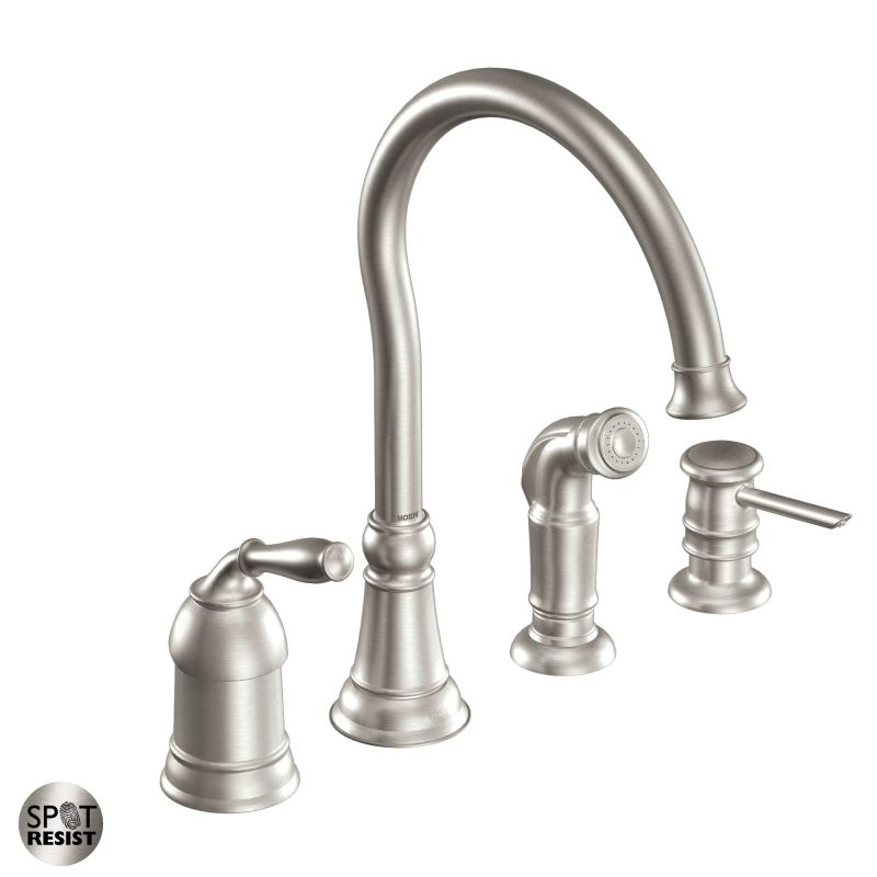 kitchen faucet with side spray and soap dispenser from the lindley