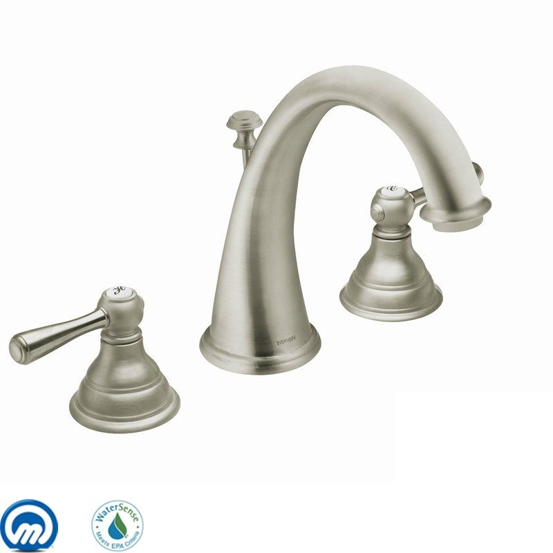 Moen T6125BN Brushed Nickel Double Handle Widespread Bathroom Faucet ...