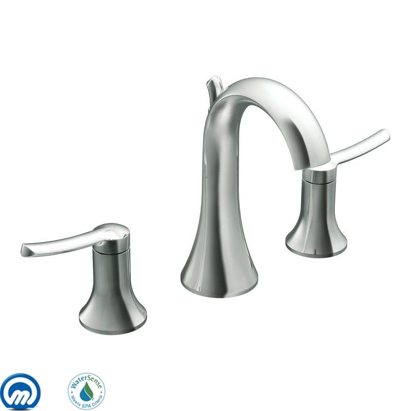 Widespread Bathroom Faucet Clearance : Moen TS41708 Chrome Double Handle Widespread Bathroom Faucet from the ...