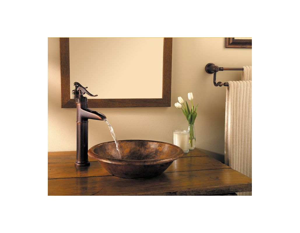 Rustic Bowl Sink : Pfister GT40-YP0K Brushed Nickel Ashfield Single Hole Bathroom Faucet ...