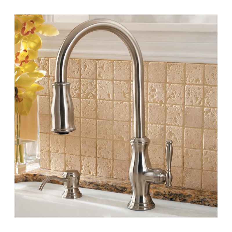 Pfister GT529-TMY Hanover Kitchen Faucet with Soap Dispenser