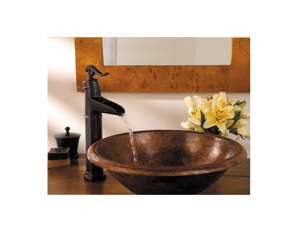 ... Nickel Ashfield Vessel Sink Waterfall Faucet with Country Pump Handle