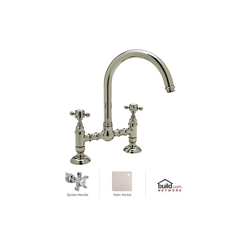 Rohl Bathroom Faucets : Rohl A1461XSTN-2 Satin Nickel Country Kitchen Bridge Faucet with Five ...
