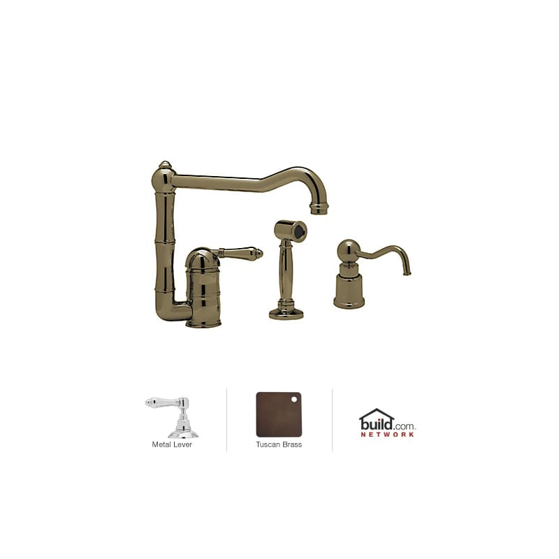 kitchen kitchen faucet with side spray soap dispenser and metal lever