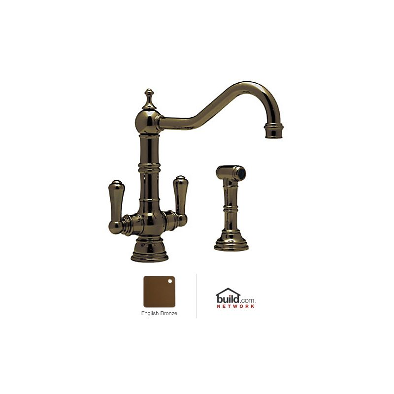 Rohl U.4766EB-2 English Bronze Perrin and Rowe Kitchen Faucet with ...