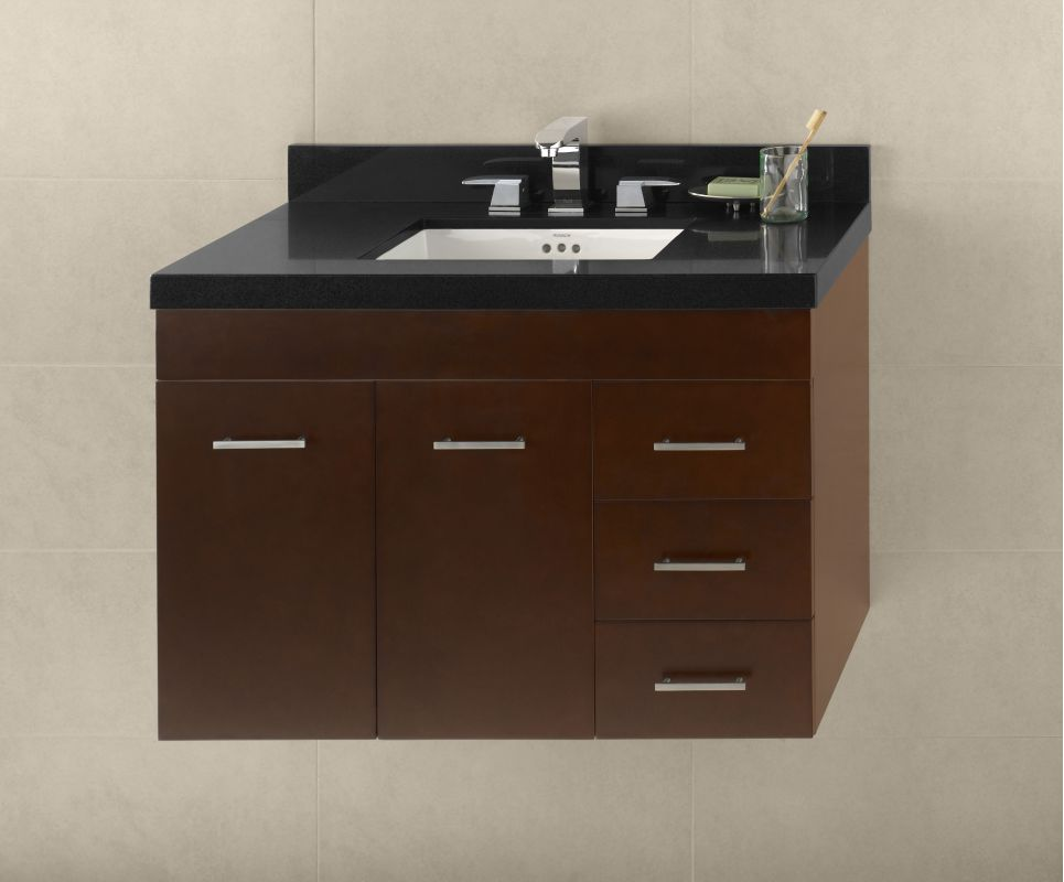 011236 l h01 in dark cherry by ronbow for Wall mounted bathroom vanity cabinet only
