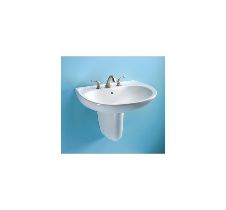 wall mounted bathroom sink with 3 faucet holes drilled and overflow