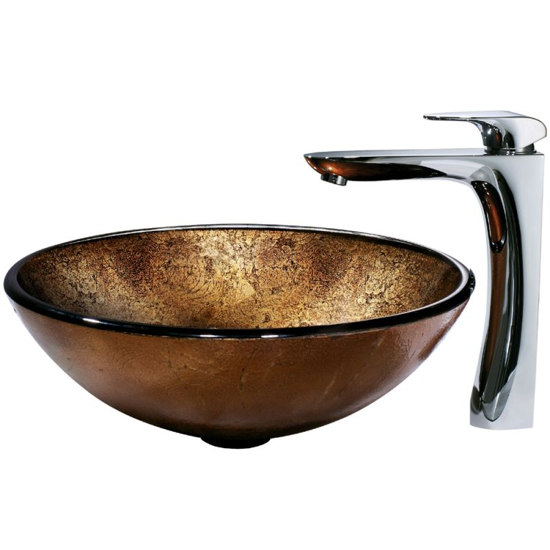 Cheap Vessel Sink Combo : ... Tempered Glass Vessel Sink with Erasma Chrome Finish Vessel Faucet