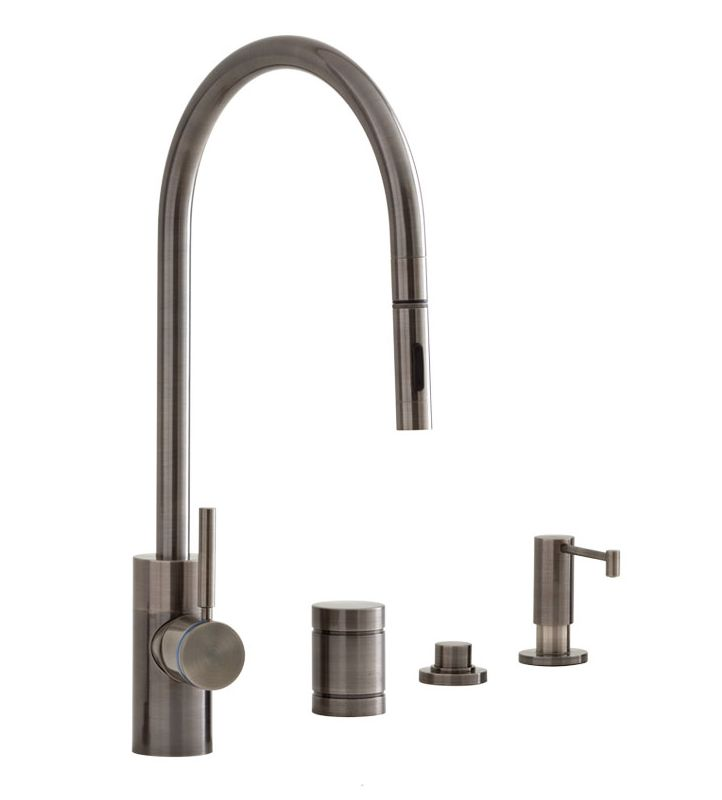 air in kitchen faucet faucet 5300 4 ap in antique pewter by waterstone 15626