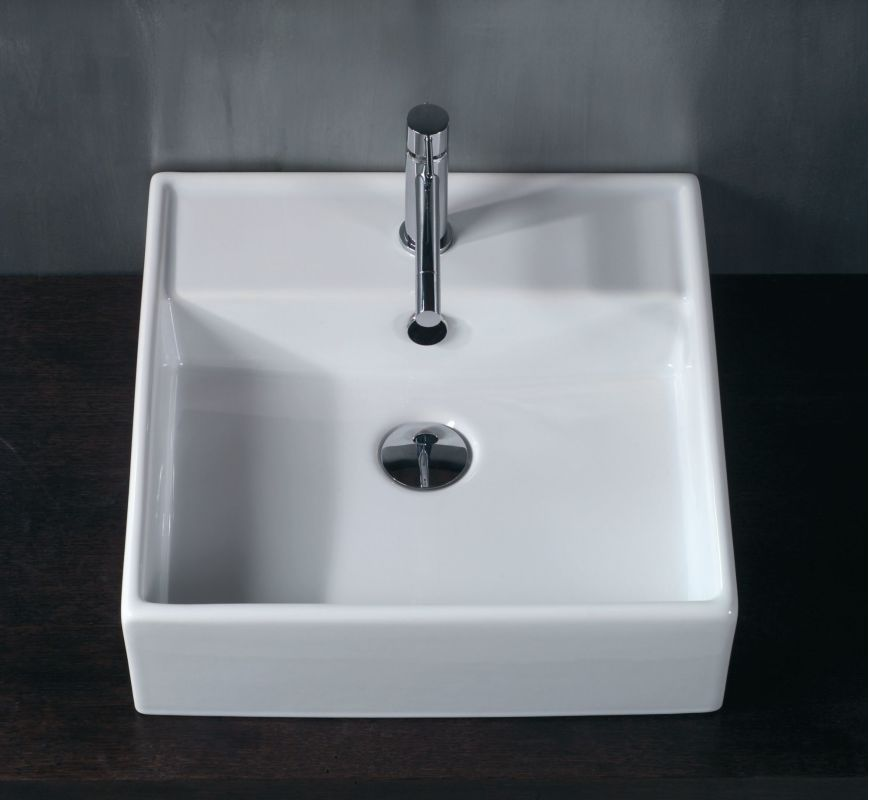 White Faucet Bathroom : WS Bath Collections LVQ 803 White Ceramica 18-3/10