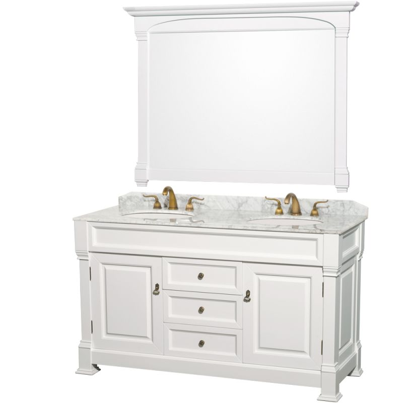 Wcvtd60whcw in white carrera top by wyndham collection - Traditional bathroom vanities double sink ...
