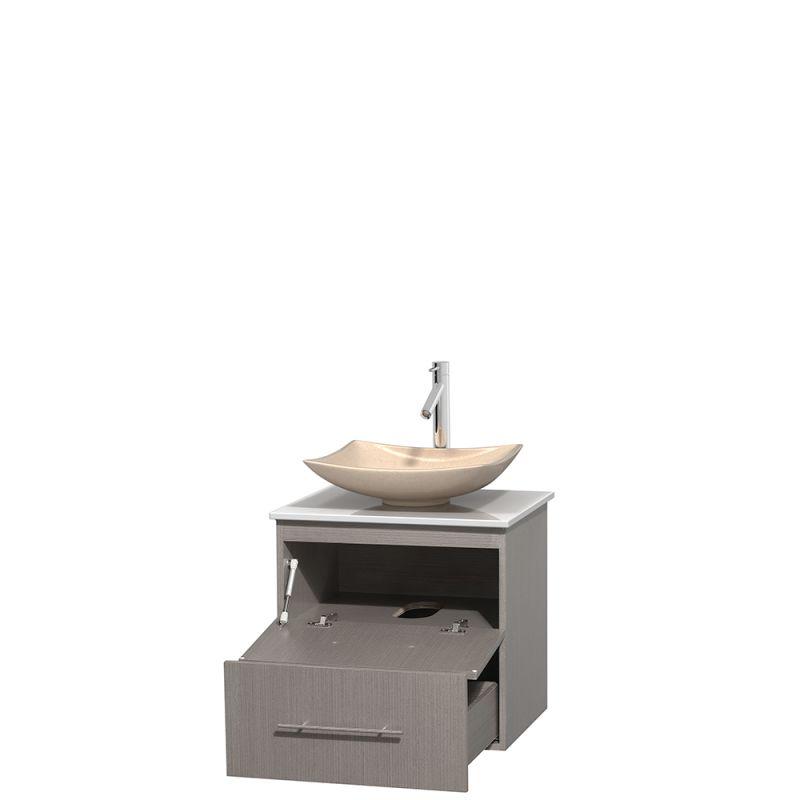 Stone Vanity Sinks : WCVW00924SGOWSGS1M24 Altair Black Granite Sink 24