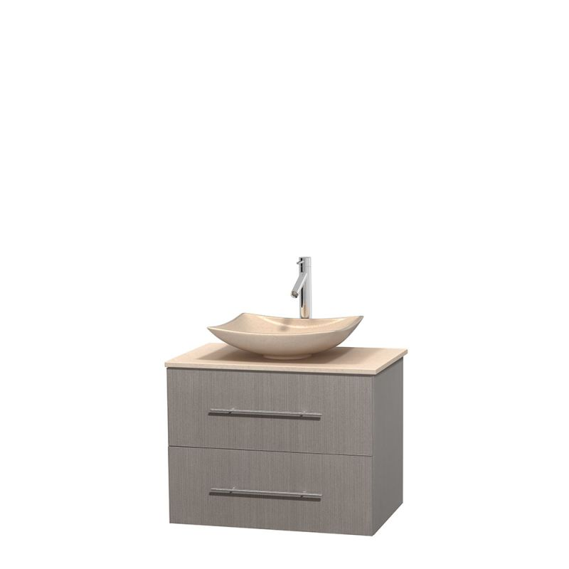 ... Vanity Set with Hardwood Cabinet, Marble Top, Vessel Sink, and 24