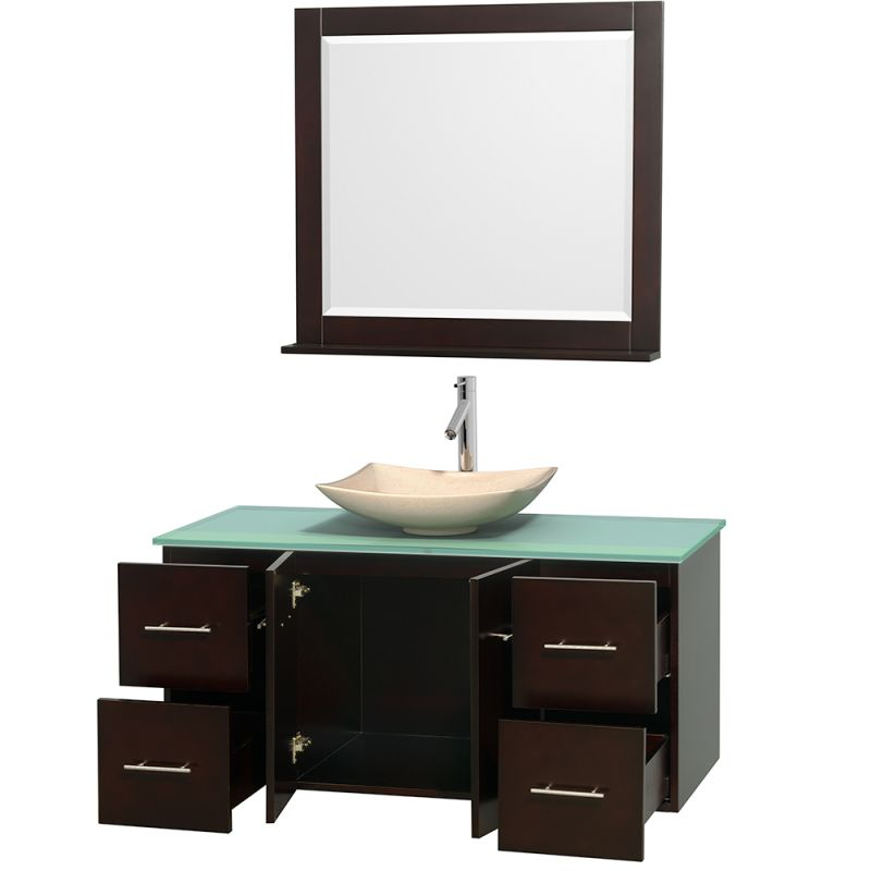 ... Vanity Set with Hardwood Cabinet, Glass Top, Vessel Sink, and 36