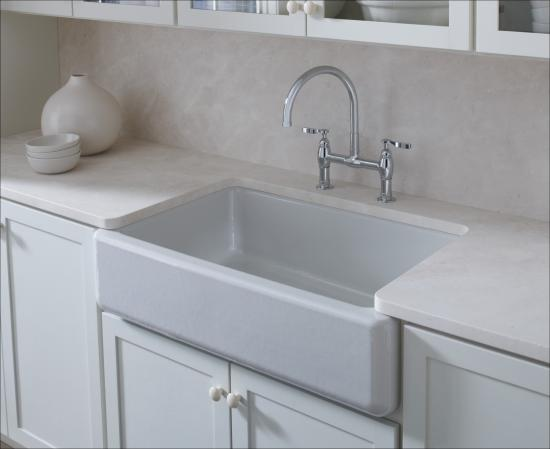 Kohler k 6487 0 white whitehaven 30 self trimming single for Cast iron sink manufacturers